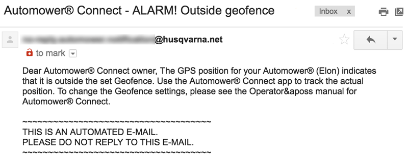 Husqvarna Automower - Outside Geofence Email
