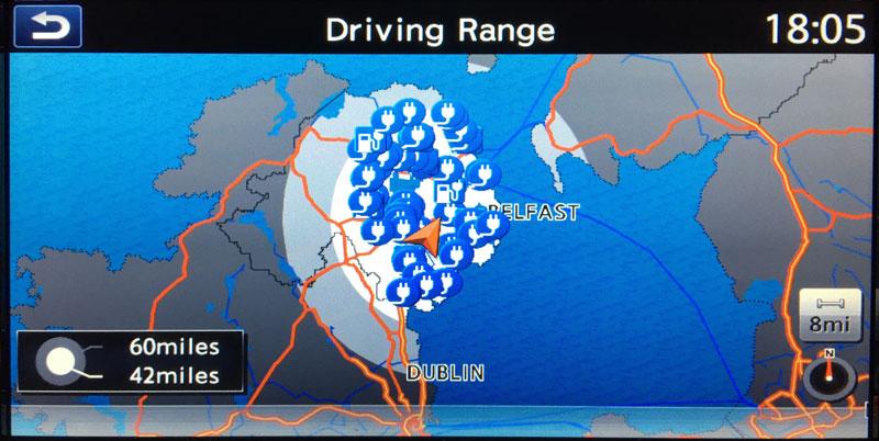 Nissa Leaf - Driving Range Map