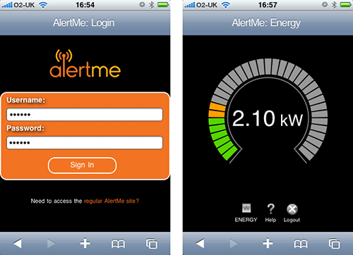 AlertMe Energy on the iPhone