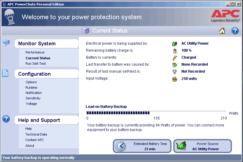 APC PowerChute Screenshot