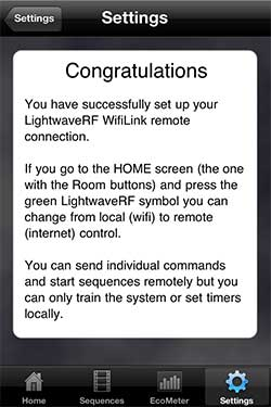 LightwaveRF iOS / iPhone App Screenshot